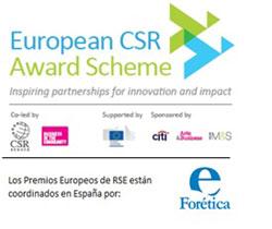 Cartel de los logos de patrocinadores de European CSR Award Scheme