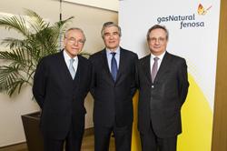 Isidro Fainé, Francisco Reynés y Rafael Villaseca, de Gas Natural Fenosa